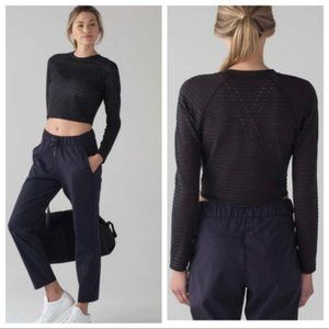 Lululemon Uncovered Black Long Sleeve Crop Top - 2
